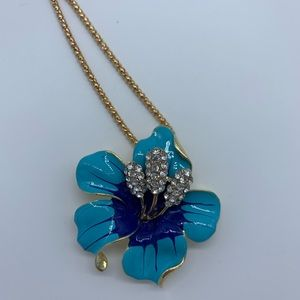 Jewelry - New blue Bauhinia flower brooch pendant necklace